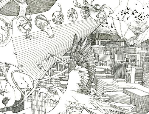 Meteorites (Noah's Ark) ink detail